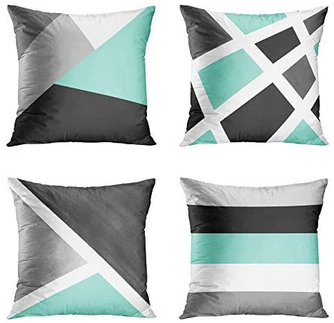 Emvency Set Of 4 Throw Pillow Covers Modern Abstract Stripe Simple Geometric Acrylic Bold Decor Throw Pillow Cover Modern Decorative Pillow Cases Throw Pillows