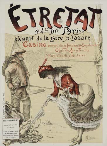 Vintage Railway Travel Poster - Étretat - départ de la gare St Lazare - by A. Gangand - France -: