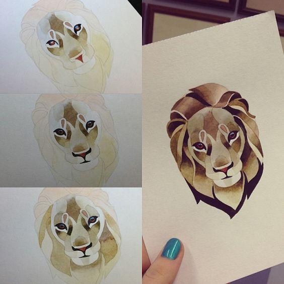 #lion #watercolor
