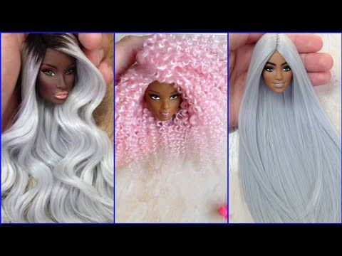 Barbie Doll Makeover Transformation Diy Miniature Ideas For Barbie Wig Dress Faceup And More Youtube En 2021 Coiffure Barbie Barbie Coiffure