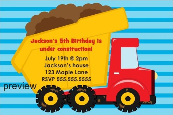Dump Truck Construction Invitation   Throwing a Construction or Tonka themed party