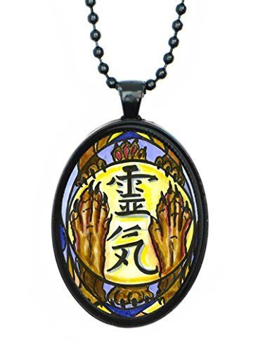 Animal Reiki Hon Sha Ze Sho Nen Distance Healing Huge 30x40mm Talisman Black Pendant