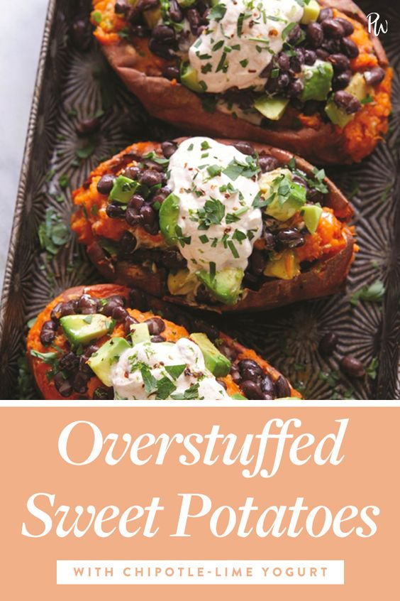 Overstuffed Sweet Potatoes with Chipotle-Lime Yogurt