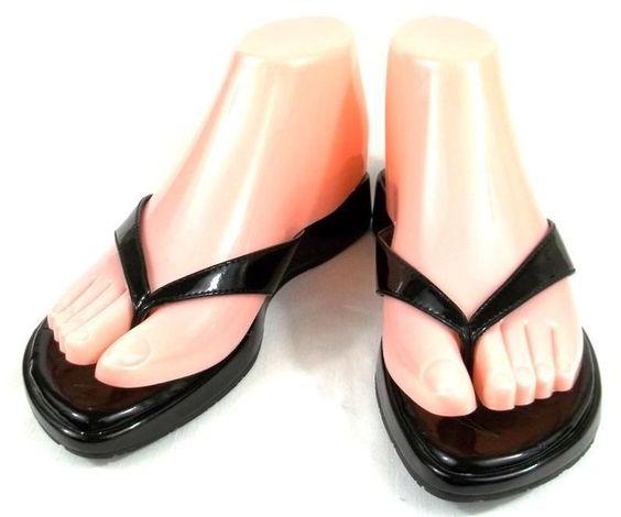 Clarks Indigo Flip Flops Solid Black Slide On Thongs Shoes Womens Size 5 M #Clarks #FlipFlops