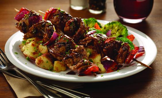 Zoe's Kitchen - Best STEAK KABOBS I've ever had!!   Steak Marinade: Soy Sauce, Spicy Mustard, Chopped Garlic, Oregano & Spices