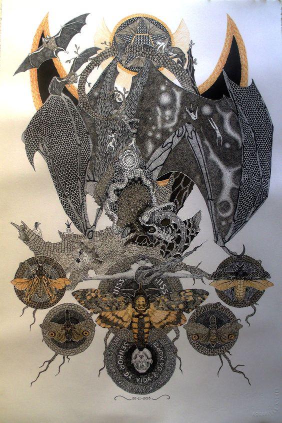 """frrmsd: """"Artist: Dezesseis Guizos """"CAMAZOTZ"""" Pontilhismo, Bico-de-Pena, Nanquim sobre Papel 37 cm x 58 cm """""""
