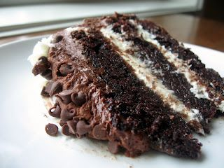 Chocolate layer cake with cream cheese filling and chocolate buttercream--can you imagine? Cream cheese filling AND chocolate buttercream? I can't take my eyes off of this slice of decadence!!!!