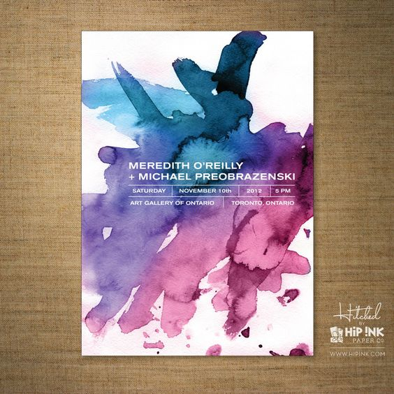 Watercolor Invitation. $125.00, via Etsy.