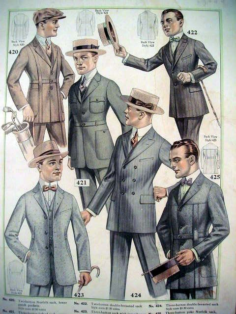 Men (at least the highly fashionable ones) wore many accessories in the 1920s. Notice the different types of hats (here we see fedoras, straw boaters, and Newsboy hats). Canes were popular accessories as well as small rings, tie pins, and collar pins.