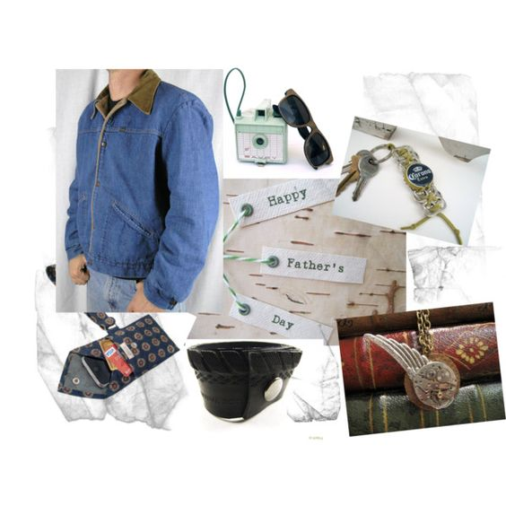 For the hip, eco-conscious men!  Look for the FabTabulous keychain!  Happy Father's Day!, created by collagical on Polyvore