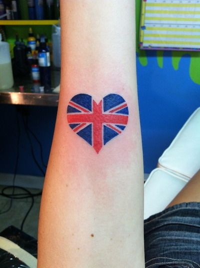 My first tattoo, the British flag in the shape of a heart, to show off my background. Done by Jeannine at Mystery Ink in New Milford, CT.
