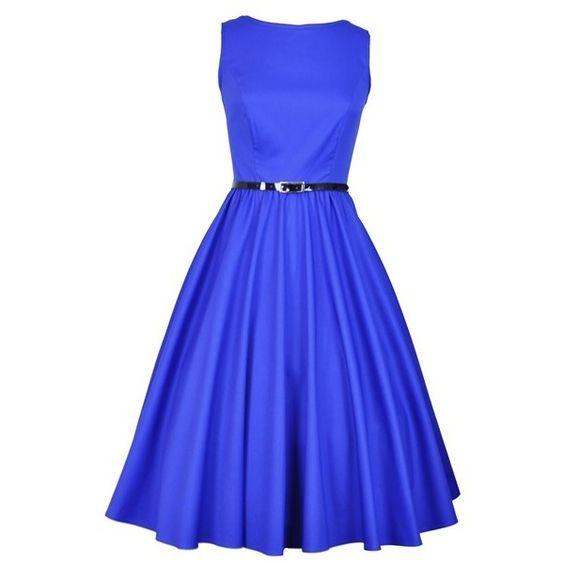 Elegant Blue Hepburn Dress ($50) ❤ liked on Polyvore featuring dresses, blue, blue day dress and blue dress