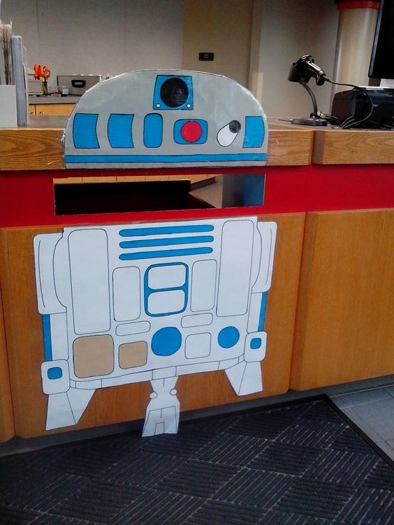 R2D2 drop-box at the Dupont Branch of the Allen County Public Library.: