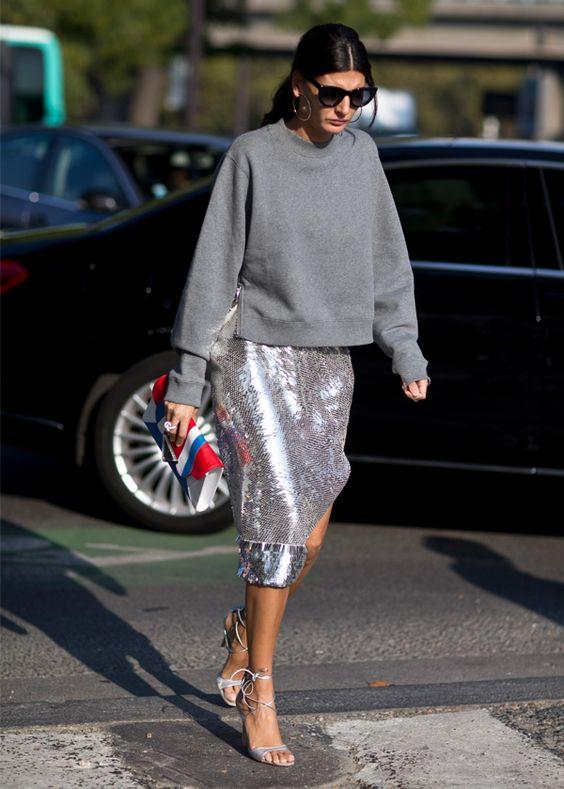 Look de Giovanna Battaglia no street style da Paris Fashion Week.