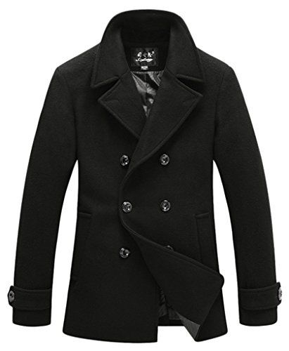 Wantdo Men's Winter Wool Blend Pea Coats 8883 Black US X-Small