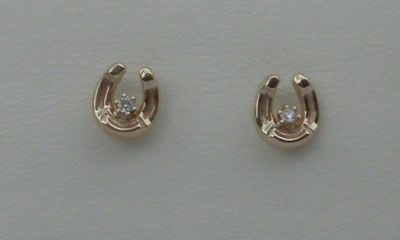 3230 Horse Shoe Gold Earrings with a Diamond from myhorsejewerly.com