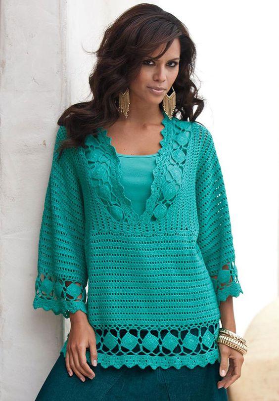 Plus Size Crochet V-neck Tunic by Denim 24/7   Plus Size New Sweaters   Roamans