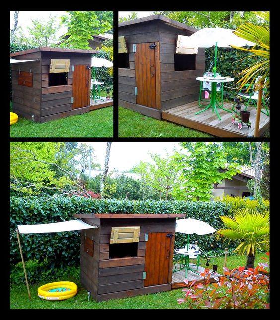 Cabane pour enfants bois de r cup ration palettes for Cabane de jardin pas chere