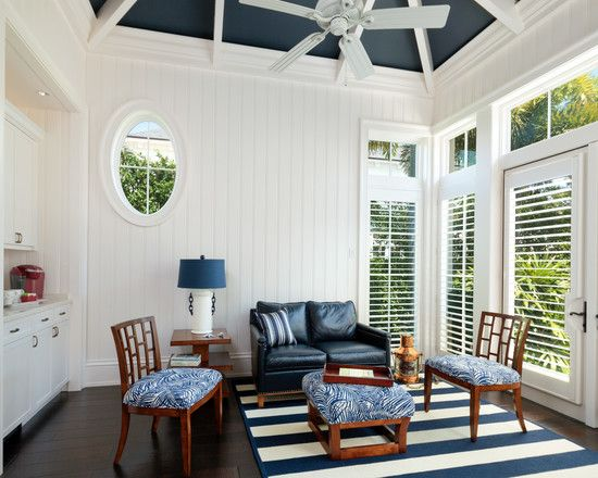Coastal Living Room With White And Blue Striped Rug