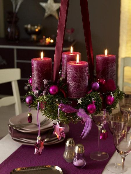 Stunning purple candle centerpiece for the Christmas table