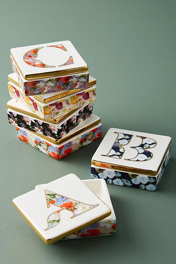 Slide View: 1: Monogram Lidded Jewelry Box