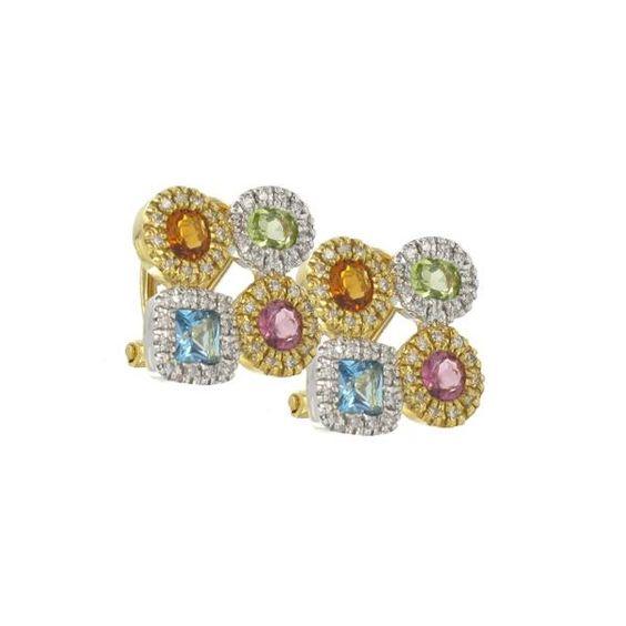 Pendientes de #oro con #piedraspreciosas de diferentes #colores #joyería #topacios #citrinos #peridotos #turmalinas #diamantes #diamonds #jewelry #earrings