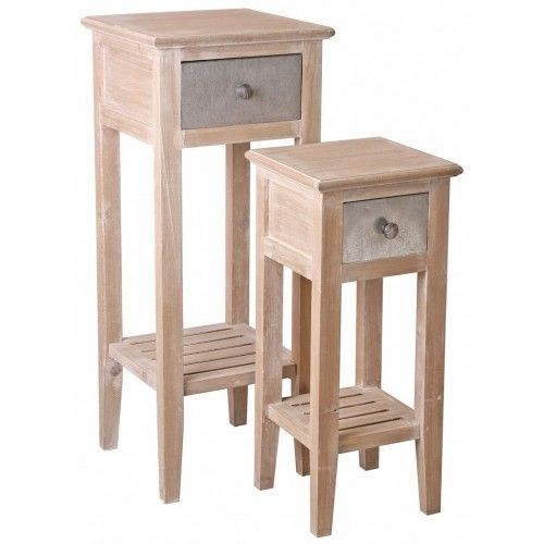 Provincial Tall Side Tables - Set of Two - Natural