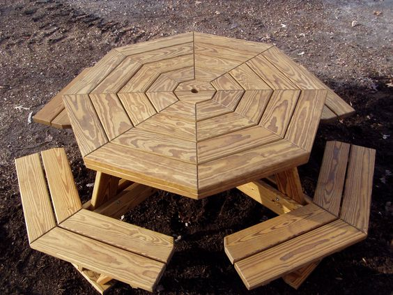 Octagon picnic table picnic tables and picnic table plans for Octagon picnic table blueprints