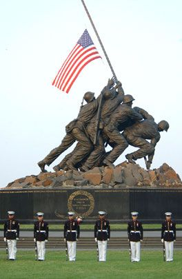 The battle of Iwo Jima, Feb.19-26, 1945.  The Iwo Jima Memorial is located near Arlington cemetery, across the Potomac river from Washington, D.C.
