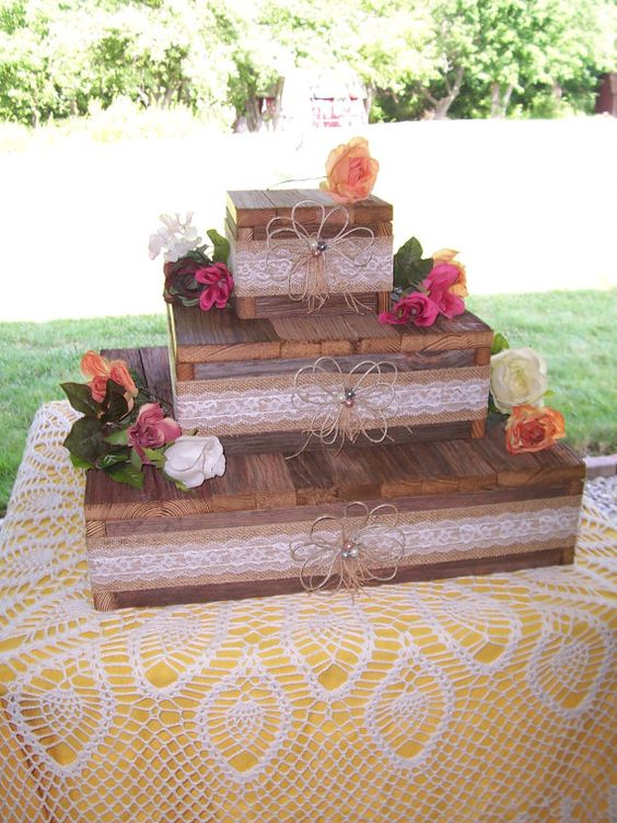 wedding cake stand reception decorations cupcake stands 3 tier rustic wood burlap lace wedding Reception Reclaimed Vintage Wedding country