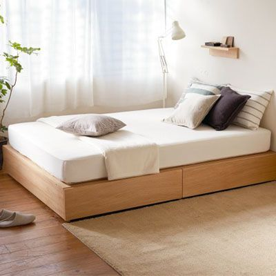 MUJI bedframe and mattress...  Don't forget to keep your room clean, neat and tidy! Always makes it cozy place to live :)