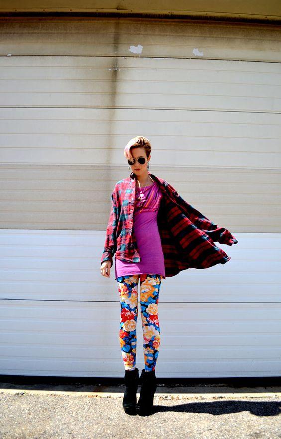 floral leggings, color clash