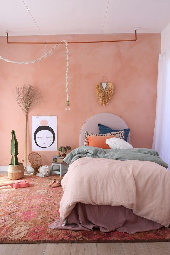Girls terracotta bedroom inspiration || featuring dusky pink sheet || sage + blush reversible duvet || Venice blue frayed euro.