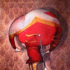 Oeuvre: Majorette de Jeremie Baldocchi Artiste Peintre Contemporain Figuratif Français (81 x 116 cm)