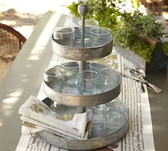 Galvanized Metal 3 Tier Stand As Cup Holder By Pottery