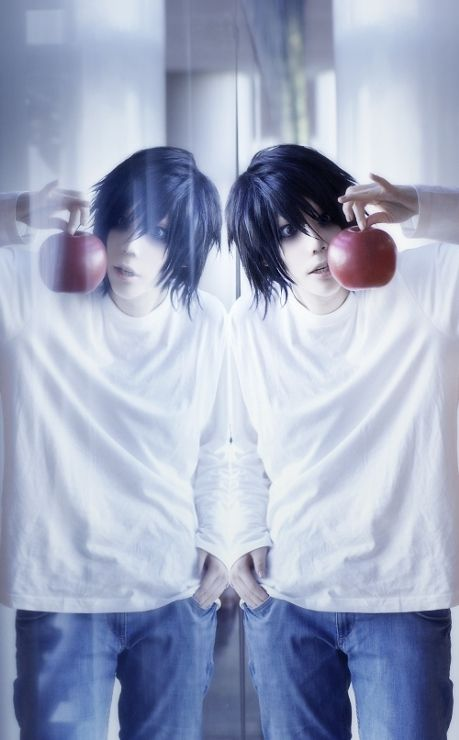L - Death Note  Throw on some jeans, a long sleeve white shirt, and get some smoky makeup all around your eye. Bring an apple as a prop or wear a black wig to really complete it!