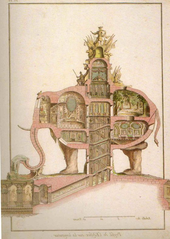 Elephant designed by Architect Charles Ribart for the Champs Elysees, Paris in 1758. This design lost out to the Arc De Triomphe.