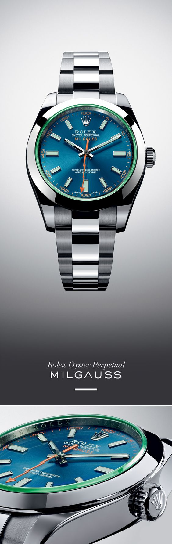 The Rolex Milgauss 40 mm in 904L steel with a smooth bezel, Z blue dial, green sapphire crystal and Oyster bracelet.