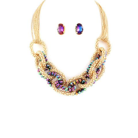 Knotted Faux Mystic Topaz Necklace & Earring Set #thealchemyshop #style #fashion #jewelry #accessories