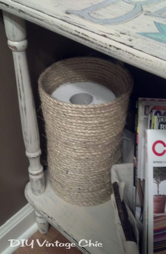 Diy toilet paper holder crafts do it yourself for Diy toilet paper storage ideas