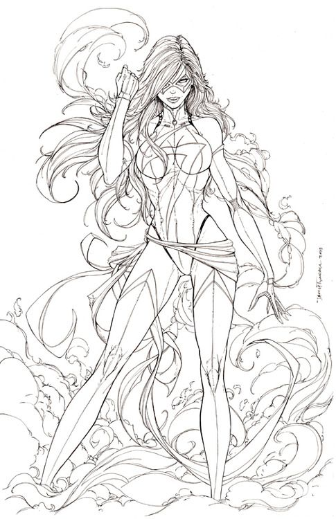 Miss Marvel Commission Lineart By Jamietyndall