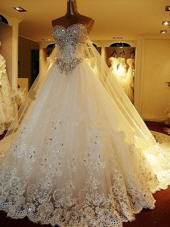 Crystal bright diamond wedding dress with Diamond Rhinestone long veil #amazing…