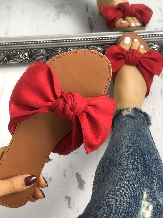 Shop Casual Bowknot Peep Toe Flat Sandals – Discover sexy women fashion at Boutiquefeel