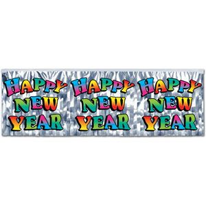 Metallic Happy New Year Banner Multi-Color