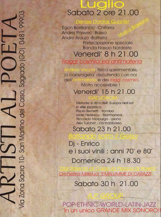 Bar Trattoria Al Poeta: il calendario eventi del mese di luglio  http://www.alpoeta.it