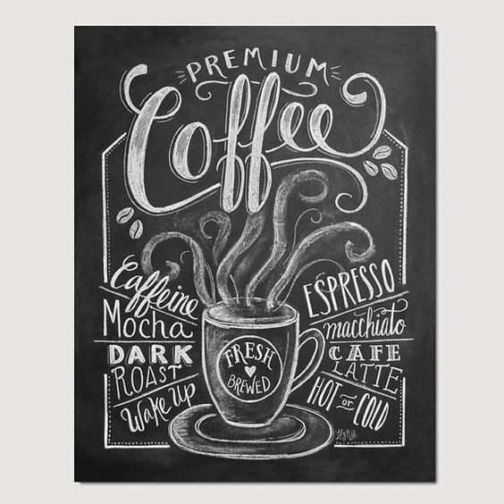 Coffee Shop Decor  Coffee Print  Coffee Illustration by LilyandVal, $19.00