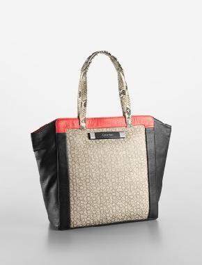 Calvin Klein CK Colorblock Tote Bag NWT Free Shipping