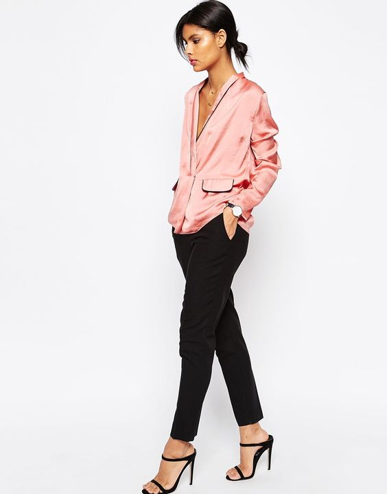Image 4 of ASOS Satin Wrap Front Pyjama Blouse: