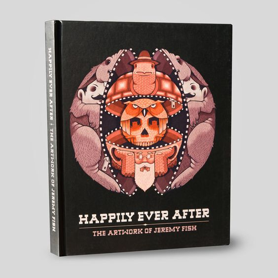 Happily Ever After by J. Fish documents his paintings, drawings, installations, murals and screen prints from 2008 to 2014