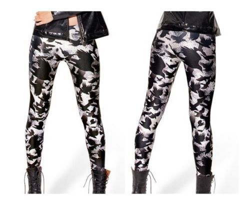 Women-Leggings-one-size-Gothic-Skull-HARLEY-Cross-Skeleton-Tartan-Leather